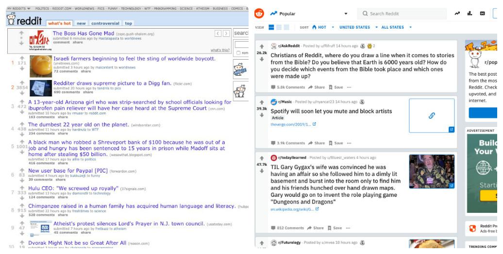 Reddit thay đổi thiết kế giao diện web trong 10 năm như thế nào