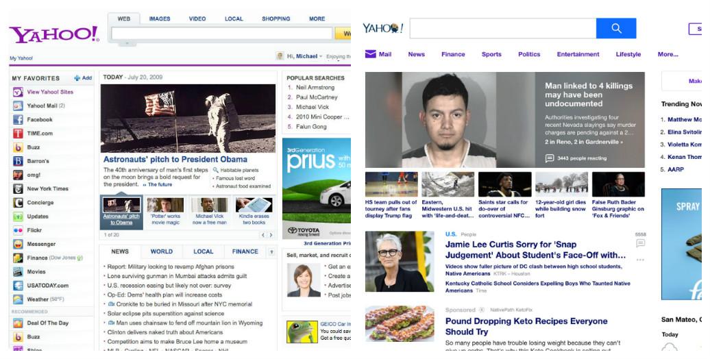 Yahoo thay đổi thiết kế giao diện web trong 10 năm như thế nào