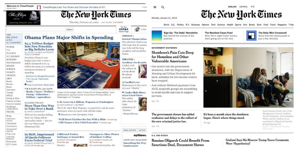 The New York Times thay đổi thiết kế giao diện web trong 10 năm như thế nào