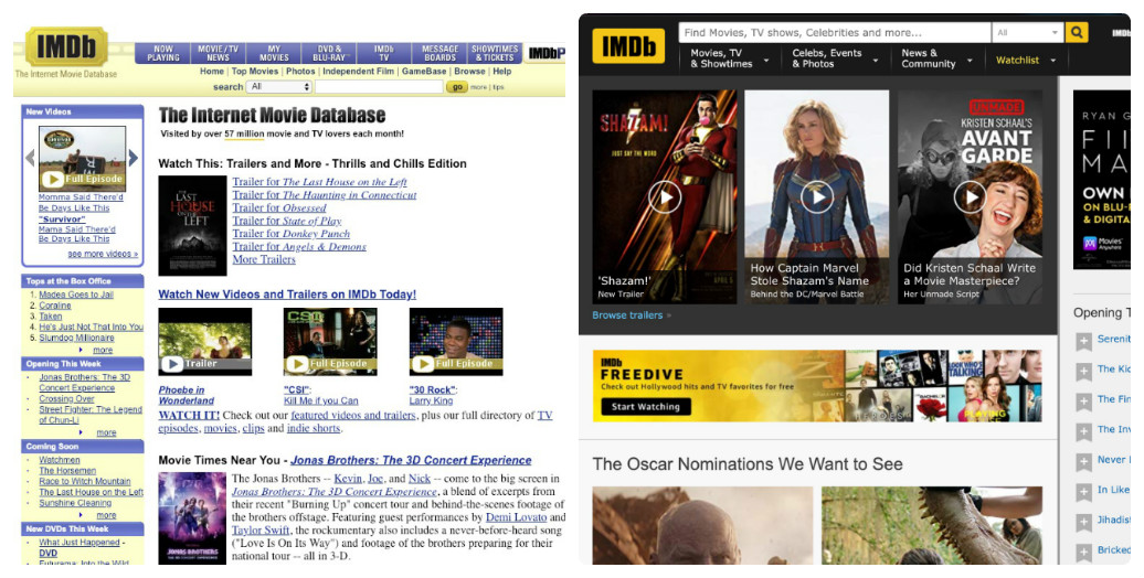 IMDB thay đổi thiết kế giao diện web trong 10 năm như thế nào