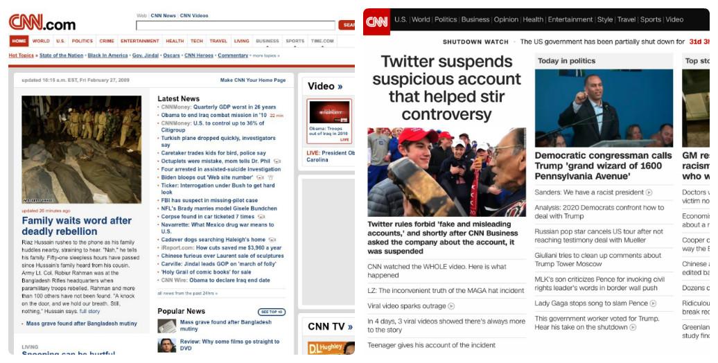 CNN thay đổi thiết kế giao diện web trong 10 năm như thế nào