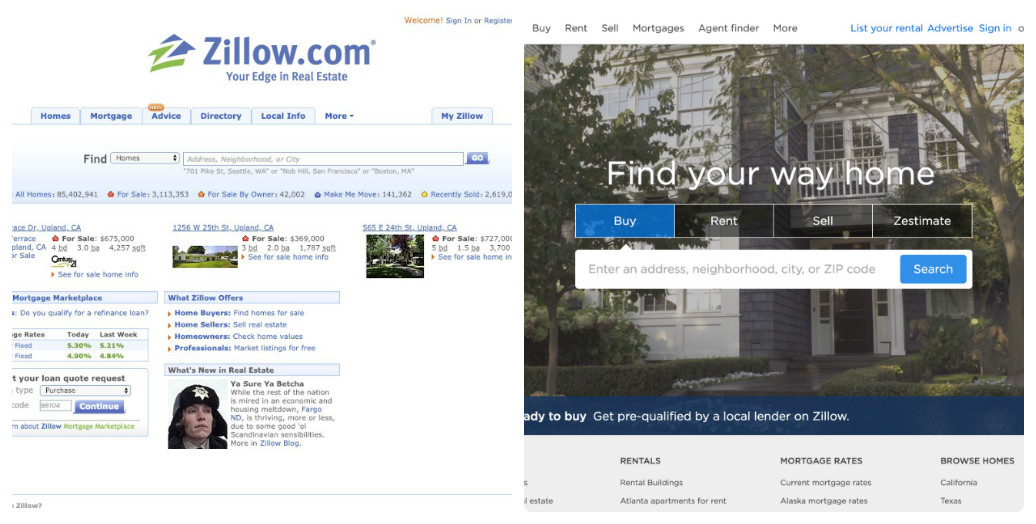 Zillow thay đổi thiết kế giao diện web trong 10 năm như thế nào