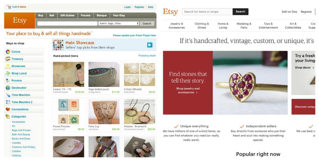 Etsy thay đổi thiết kế giao diện web trong 10 năm như thế nào