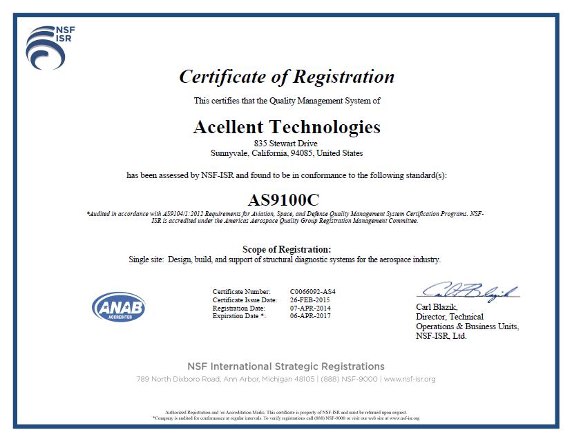 Certification Acellent Technologies