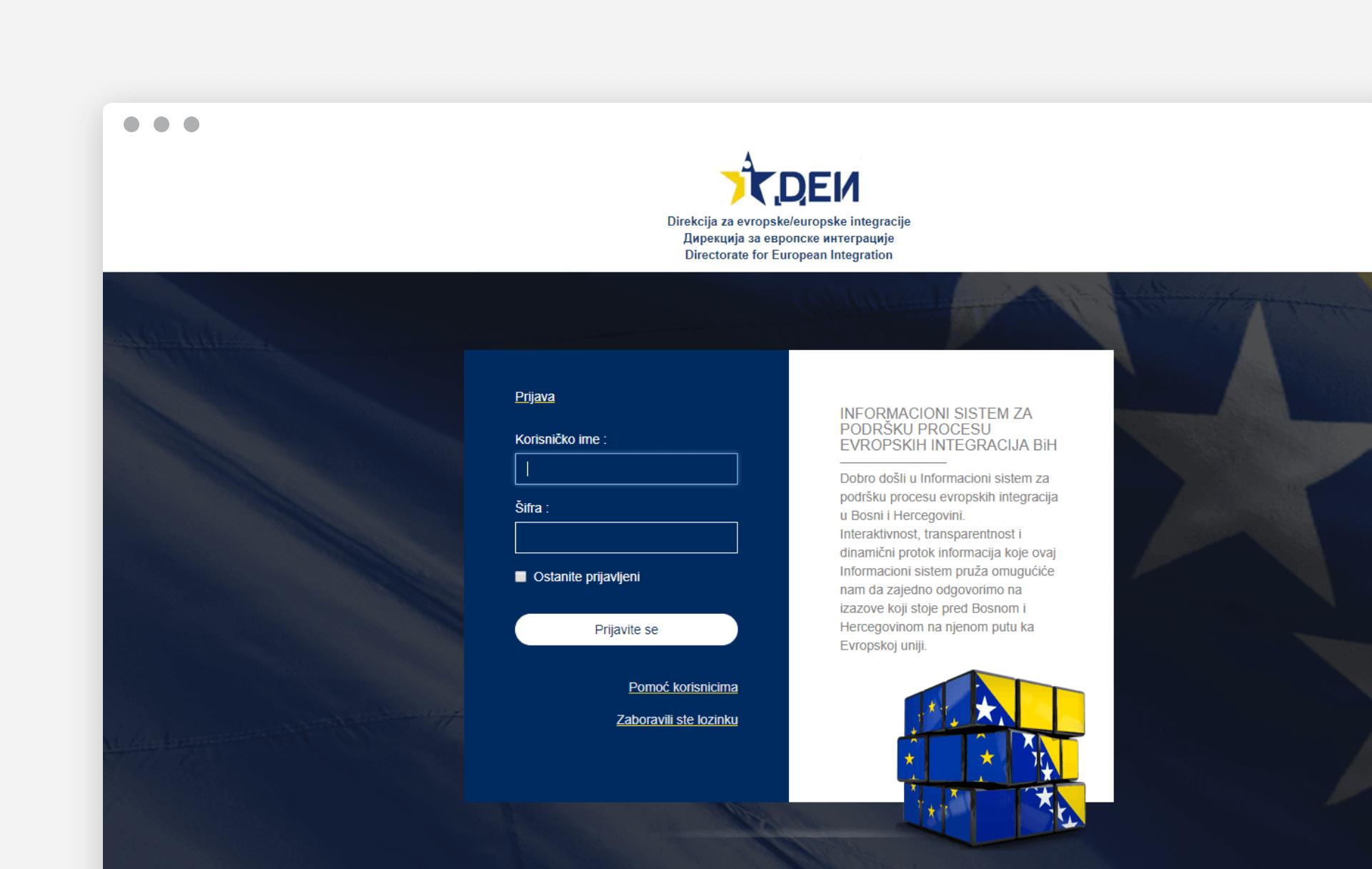 Informacioni sistem za podršku procesu evropskih integracija BiH
