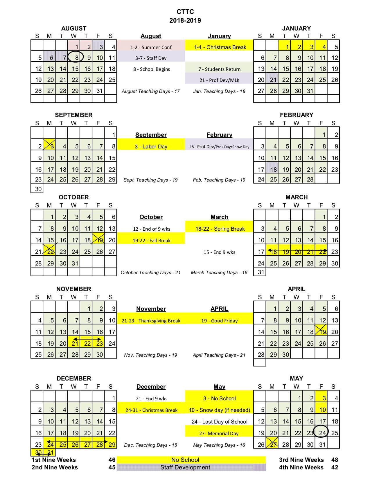 CTTC Calendar