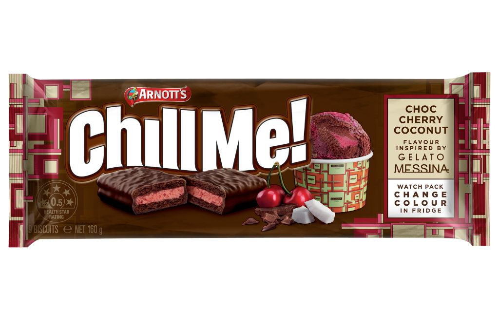 Arnott's Gelato Messina inspired Choc Cherry Coconut Tim Tams.