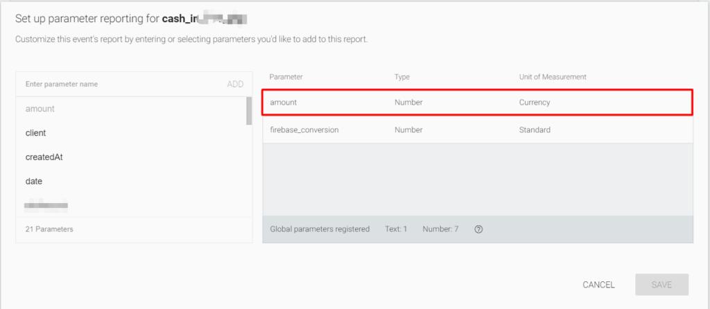 parameter reporting firebase