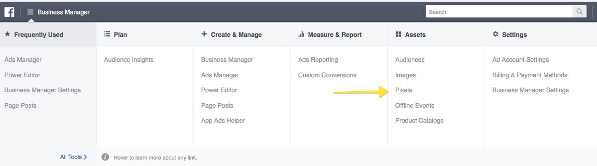 facebook-tracking-pixel-menu