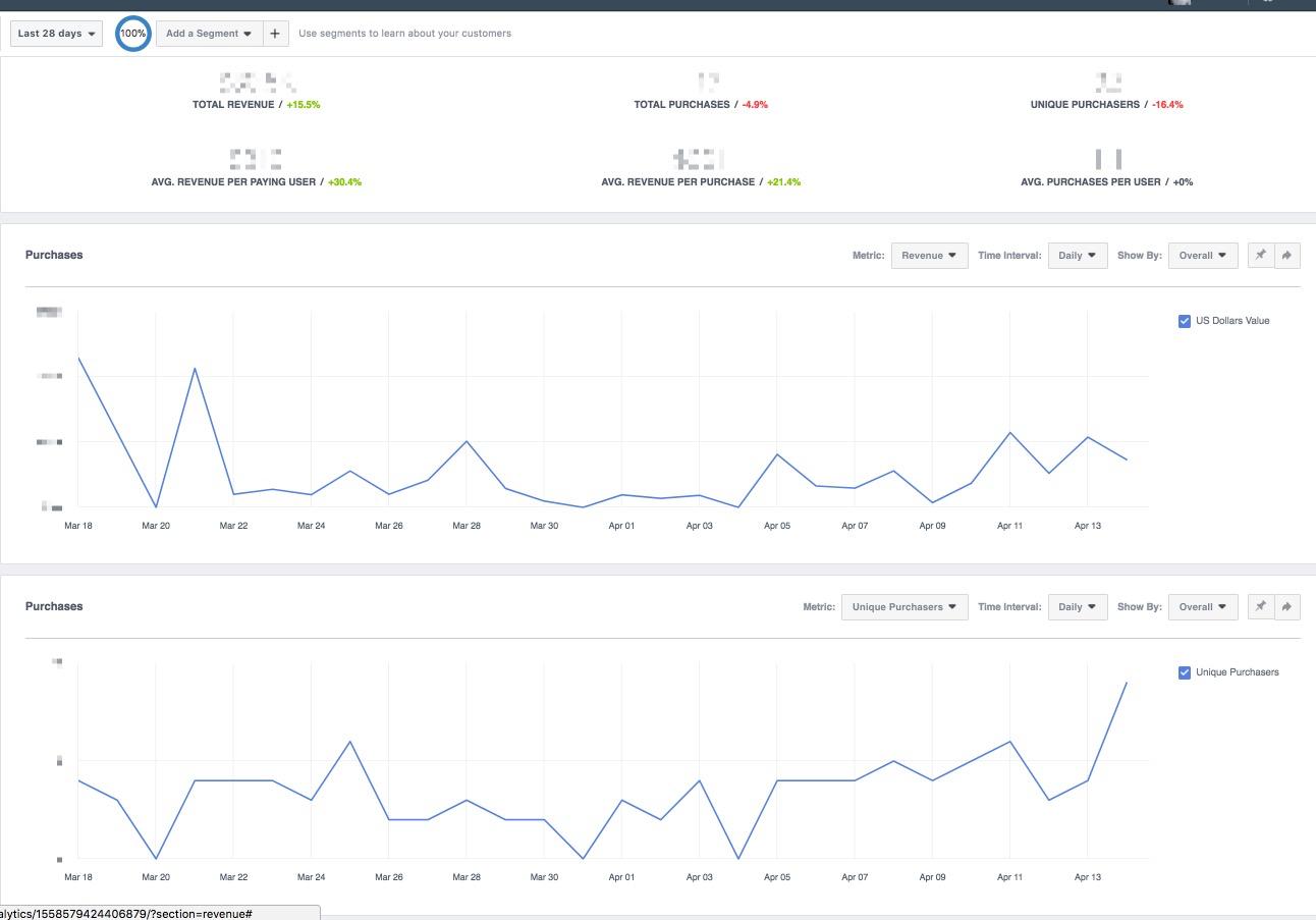 Facebook Analytics Dashboard Revenue Graph