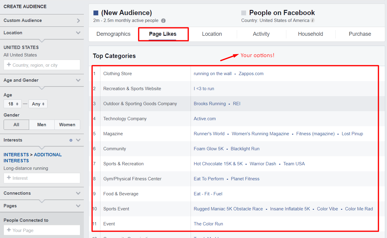 page likes facebook audience insights