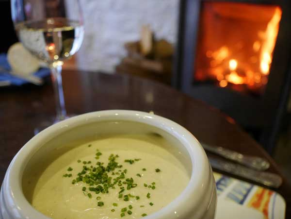 Cullen skink by the fire in The Pierhouse Ferry Bar