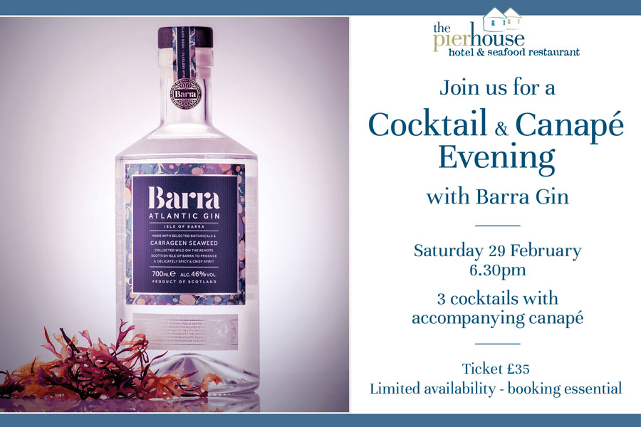 Cocktail and canape evening with Barra Gin at The Pierhouse