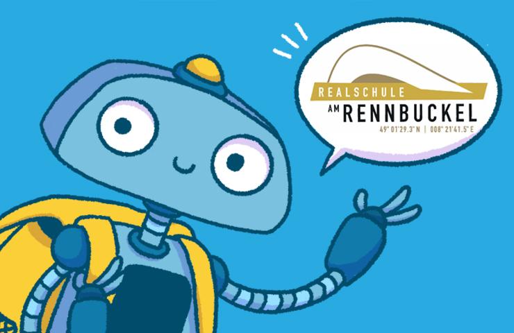 Roboter Bo mit Schultasche und Logo der Rennbuckel Realschule