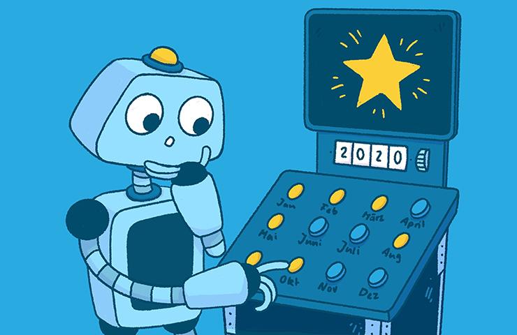 Roboter Bo vor einem Kalender
