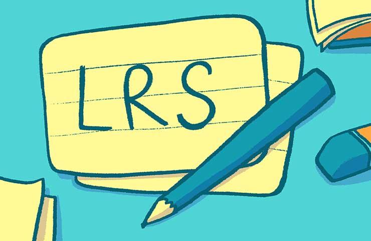 Auf einer Vokabelkarte steht LRS