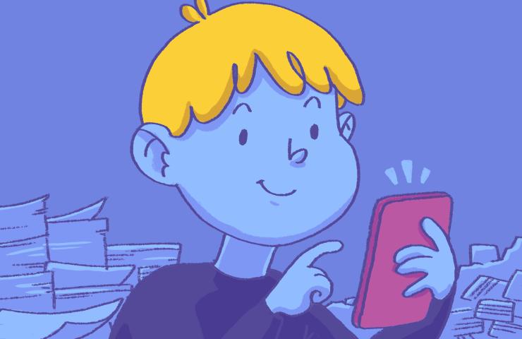 Kind drückt auf ein Handy. Im Hintergrund stapeln sich Karteikarten