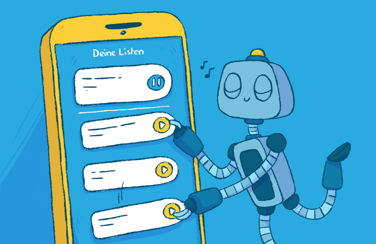Roboter Bo ordnet Listen in der cabuu App