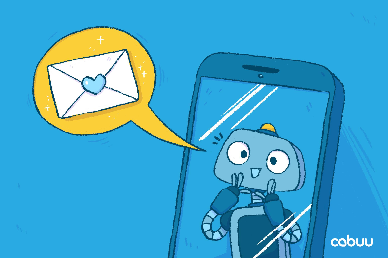 Roboter Bo zeigt einen kleinen Brief