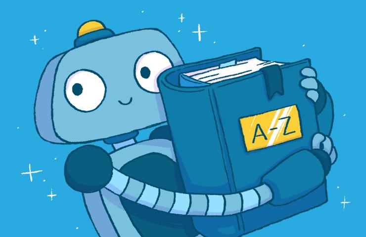 Roboter Bo hält ein dickes Wörterbuch