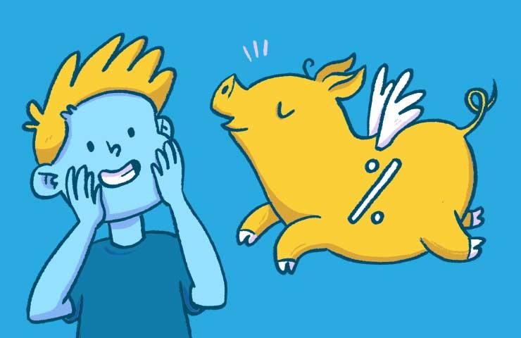 Illustration einen fliegenden Schweins