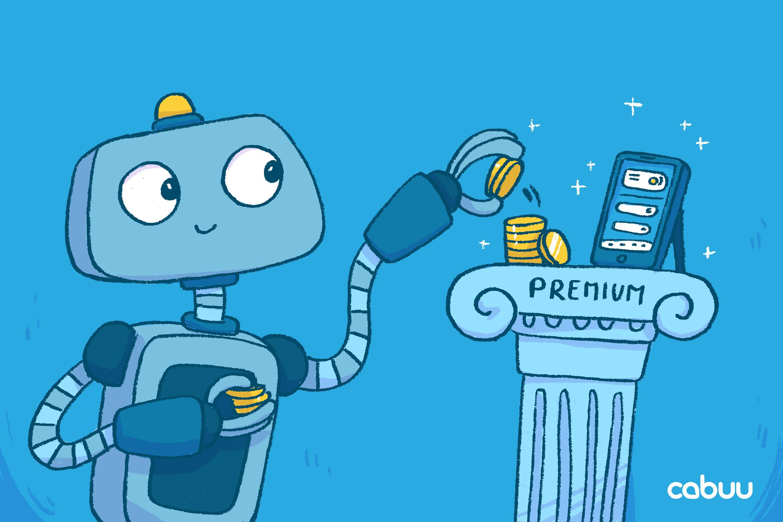 Roboter Bo nimmt ein paar Münzen aus dem Preis
