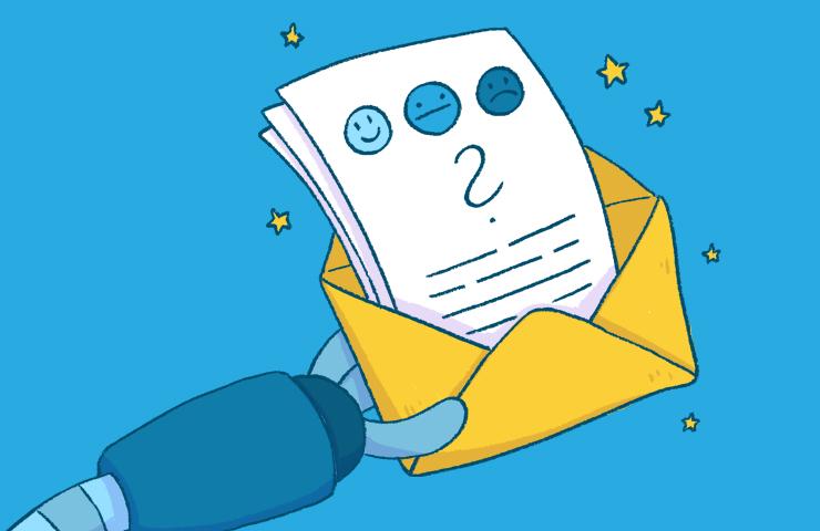 Briefumschlag mit Umfrageergebnissen
