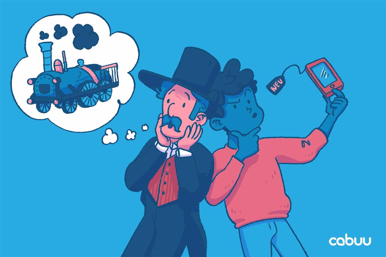 Eine Person in altertümlicher Kleidung denkt an eine Dampflock. Ein moderner Charakter schaut skeptisch auf ein Smartphone.