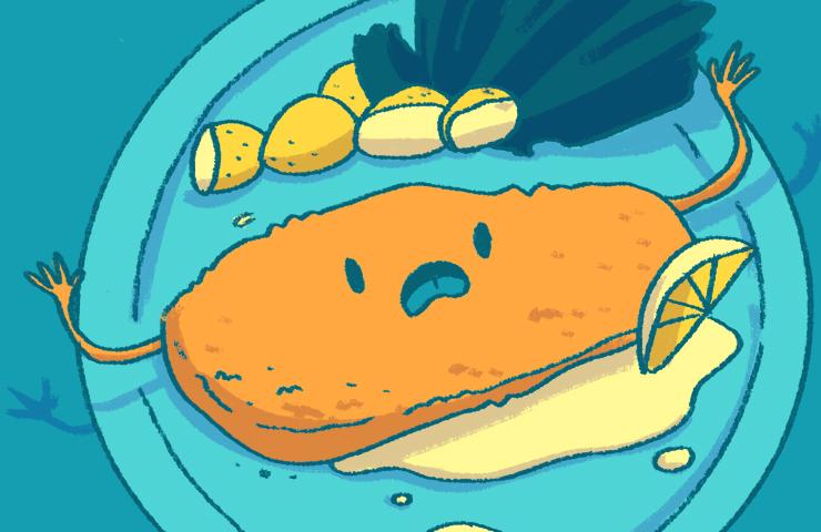 """Eine Illustration von einem Schnitzel, das neben einer Zitronenspalte auf dem Teller liegt. Es hat ein verzweifeltes Gesicht. Anspielung auf Fals Friend """"i become a Schnitzel"""""""