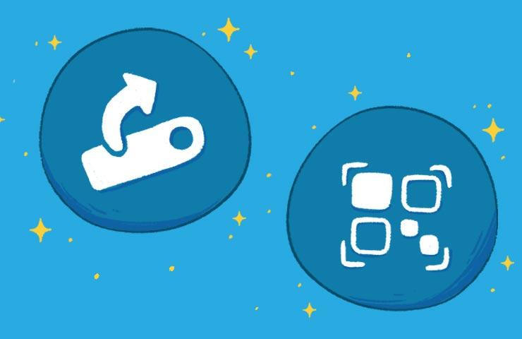 Ein illustriertes Bild, das zwei Smartphones zeigt, die gerade eine Vokabelliste austauschen.