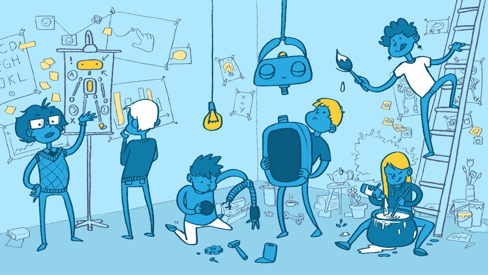 Eine Illustration, auf der ein Team zusammen an einem Roboter baut.