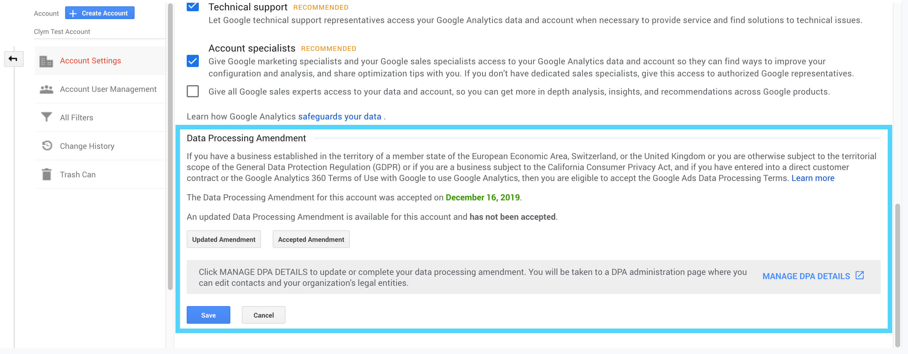 Google Analytics Data Processing Amendment for GDPR