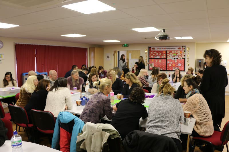 Teachers collaborating at the start of term in an INSET day