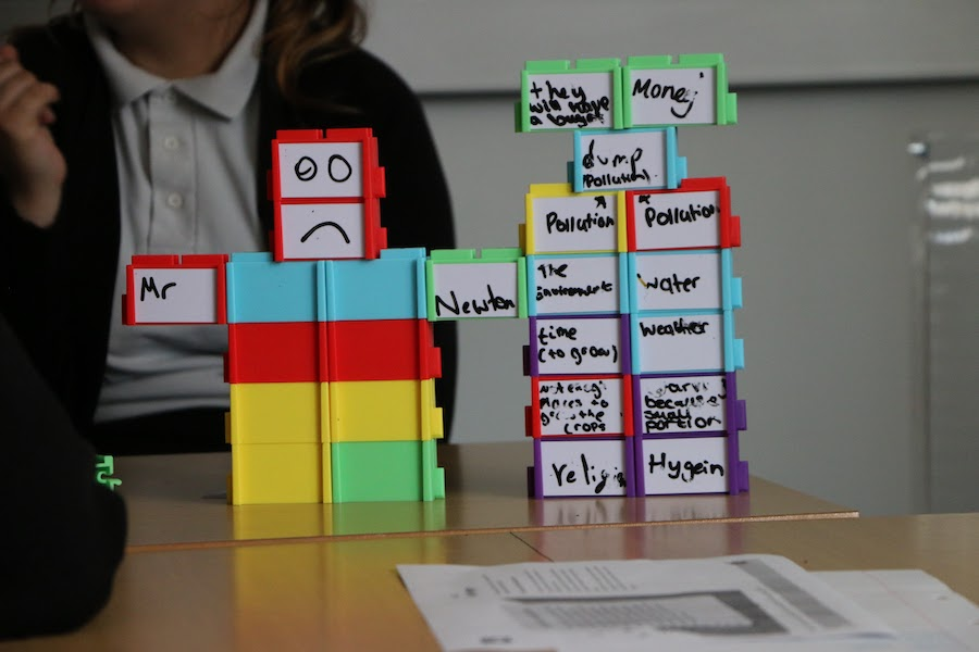 Students engaging in critical thinking exercise using the Structural Learning blocks