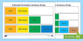 Colourful semantics sentence strips