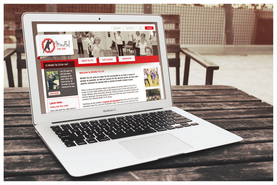 Photo of Mindful Tai Chi Sheffield website on a laptop by Connect Creative Design in Barnsley