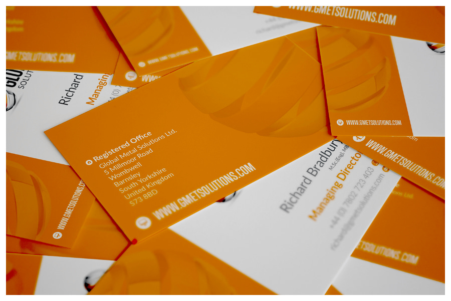 Photo of Global Metal Solutions business cards designed by Connect Creative Design