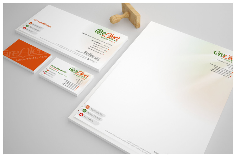 Photo of CareAlert stationery and logo design, designed by Connect Creative Design