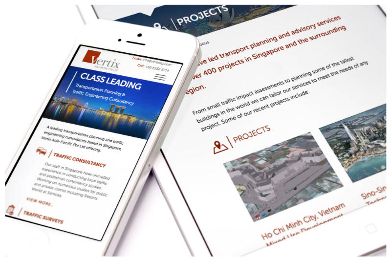 Photo of Vertix Asia mobile website, designed by Connect Creative Design