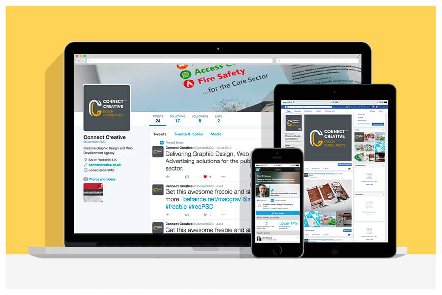 Photo of the social media pages of Connect Creative Design in Barnsley