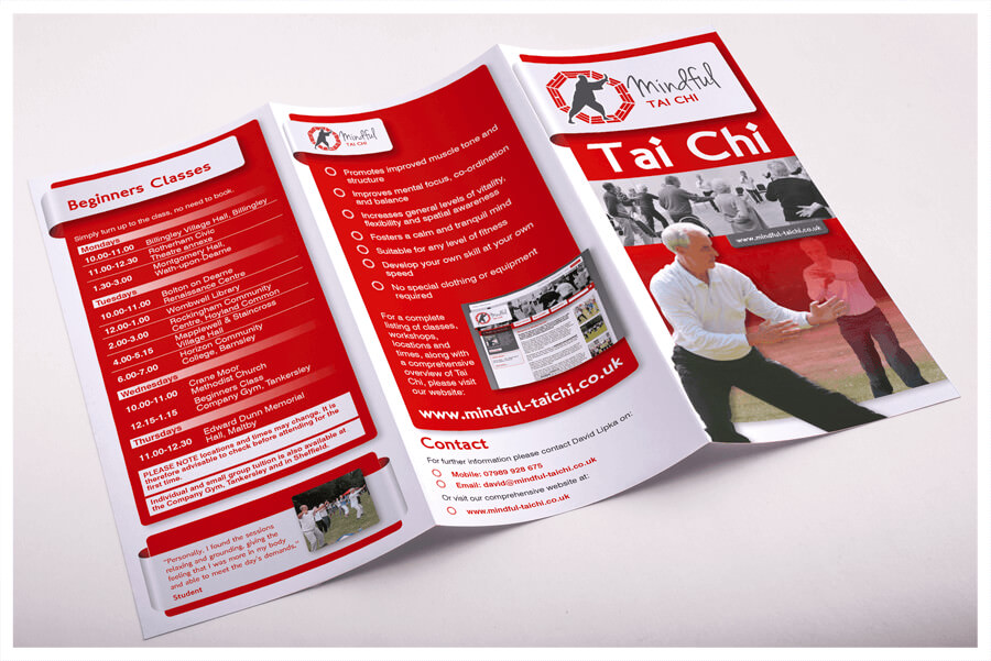 Photo of Mindful Tai Chi Sheffield leaflet printed by Connect Creative Design in Barnsley