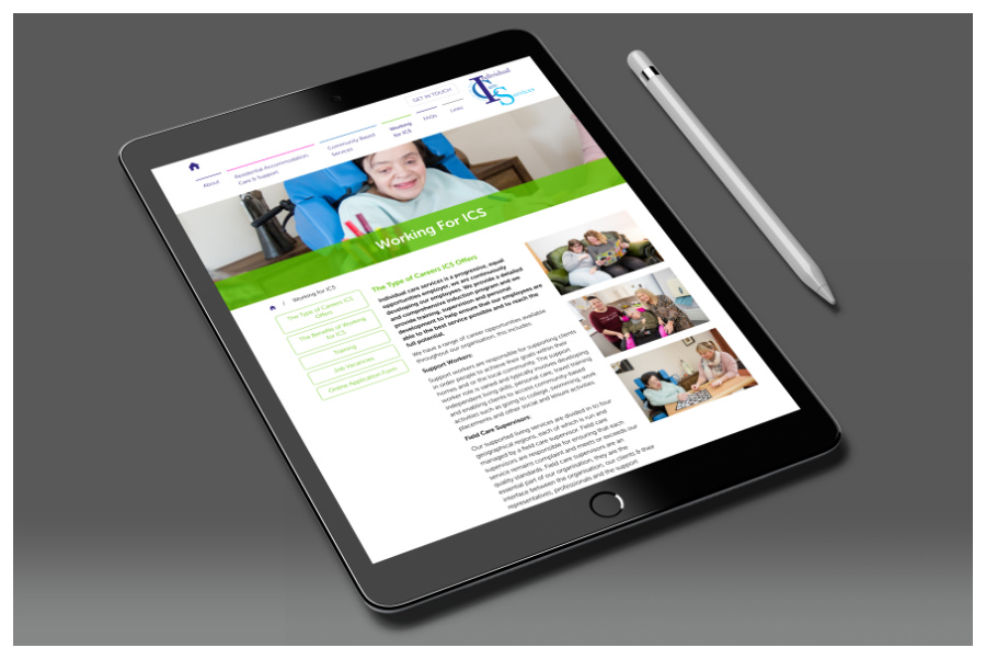 Individual Care Services iPad website