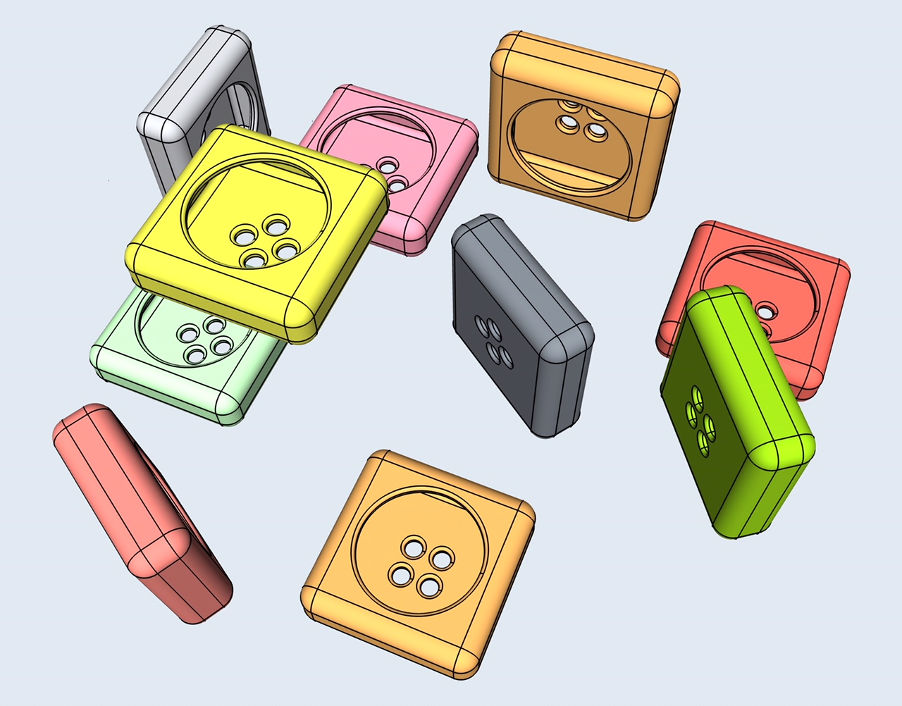 buttons 3d modeling