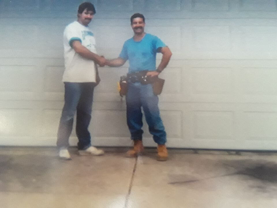 Owner Pete With Customer in 1991