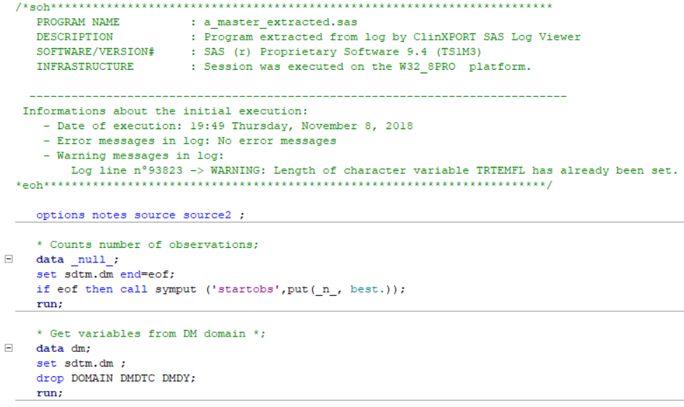 Stand-alone SAS program extracted from log