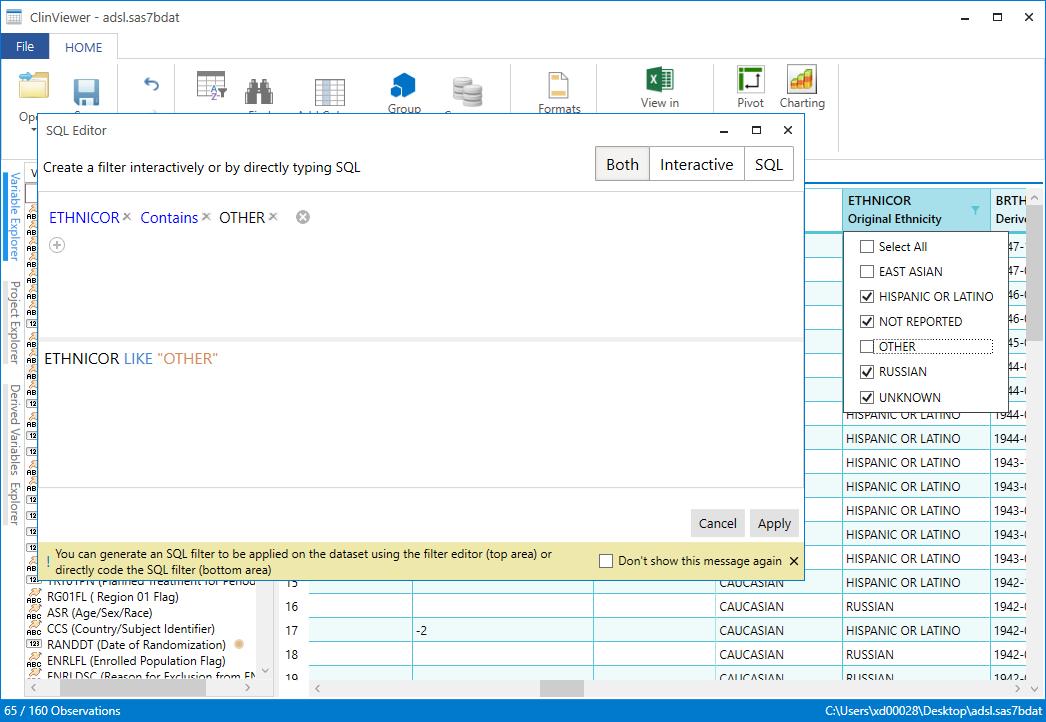 Perform SQL queries