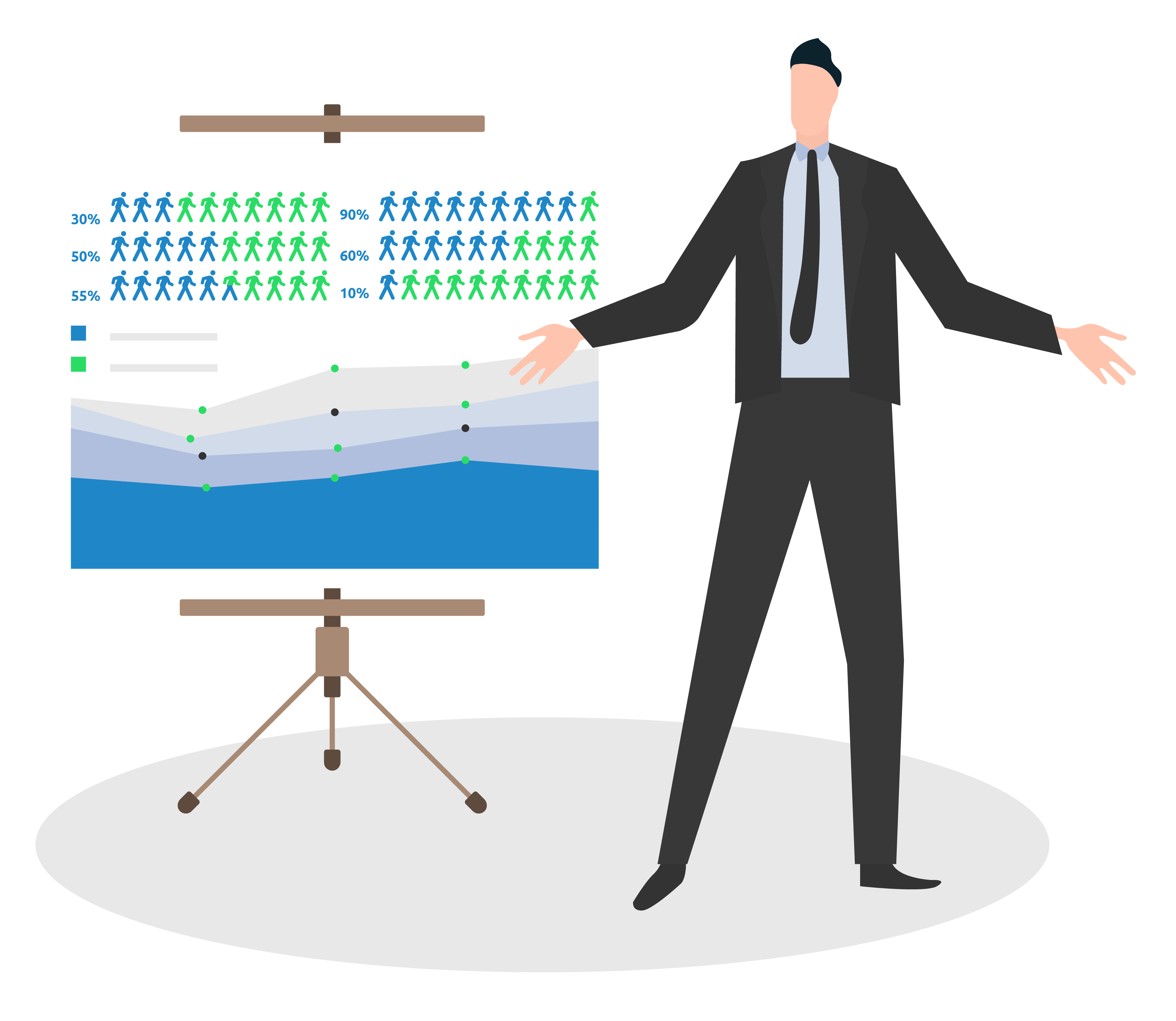 Man doing a presentation on illustrated data