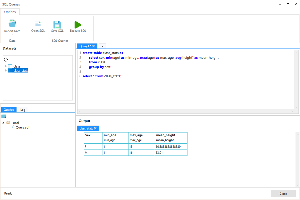 Perform SQL queries with our built-in SQL code editor