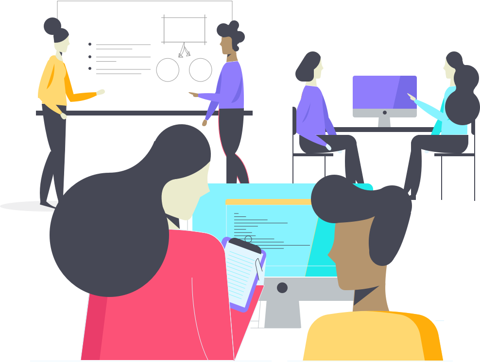 Team of people working  on a project