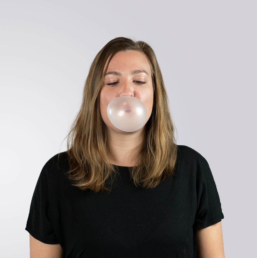 Gabi blowing bubble gum